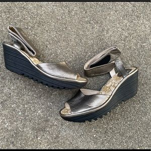 Fly London Gold Metallic Ankle Strap Wedge Sandals